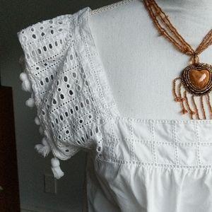J. Crew Tops - J Crew white tassel pom pom cotton shirt top,  10